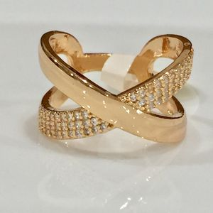 18k gold plated cross over ring band jewelry accessory Christmas gift for Sale in Silver Spring, MD