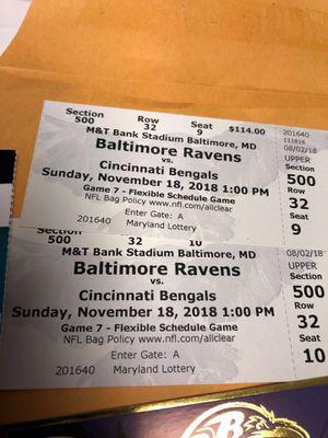 Baltimore Ravens vs Cincinnati Bengals Nov 18 Two tickets plus for Sale in Severna Park, MD