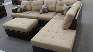 Brand new linen sectional sofa with ottoman (it's available in two colors) for Sale in Silver Spring, MD