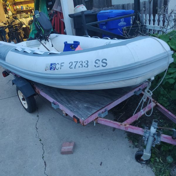 Inflatable boat trailer outboard motor for Sale in San Diego, CA - OfferUp