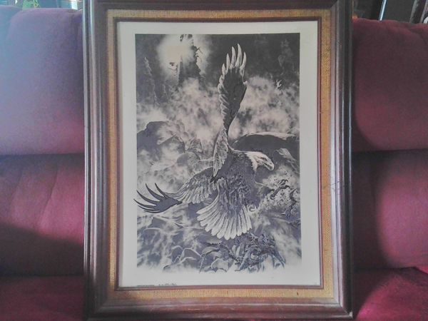 Framed Montana marble Eagle larger size picture. Reasonable offer please! f38d5d63d1886