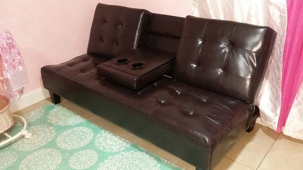 Brown Leather Futon Good Condition For In Dania Beach Fl Offerup