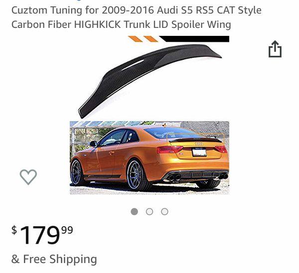 FOR 2009-2016 AUDI S5 RS5 CAT STYLE CARBON FIBER HIGHKICK TRUNK LID SPOILER WING