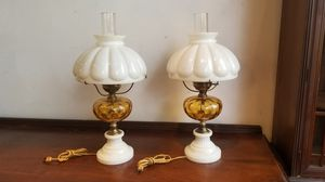 Two beautiful white milk glass/amber vintage kerosene style lamps for Sale in St. Louis, MO