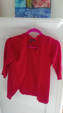 red crop short sleeve cardigan size s Thumbnail