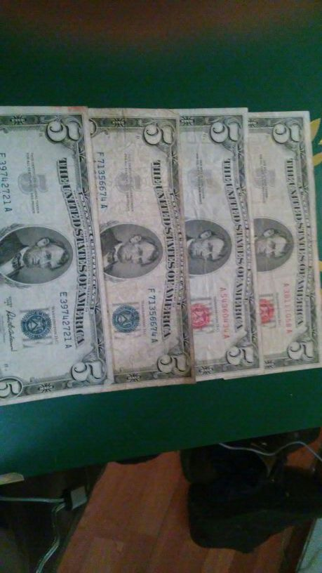 2. 1963. 2 1953 5 dollar biil silver certificate $64 x 4 for Sale in ...