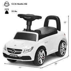 AMG Mercedes Benz Licensed Kids Ride On Push Car with Music Horn and Storage in White Thumbnail