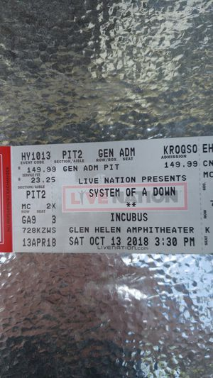 (2) System Of A Down PIT tickets - Glen Helen Amphitheater - October 13,  2018 for Sale in Rowland Heights, CA - OfferUp