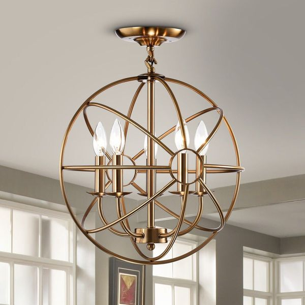 CHANDELIER BRASS 5 LIGHT CANDLE FLUSH MOUNT for Sale in ...
