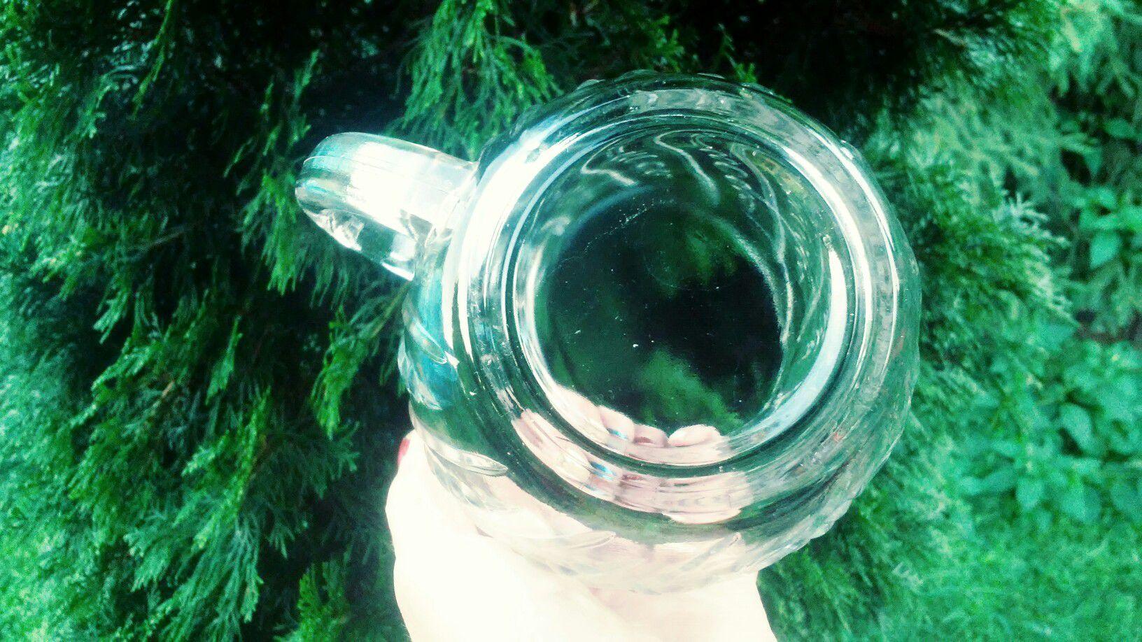 2 glass pitchers and sugar bowl