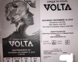 3 Cirque du Soliel tickets, SF, Saturday, 12/15 for Sale in San Francisco, CA