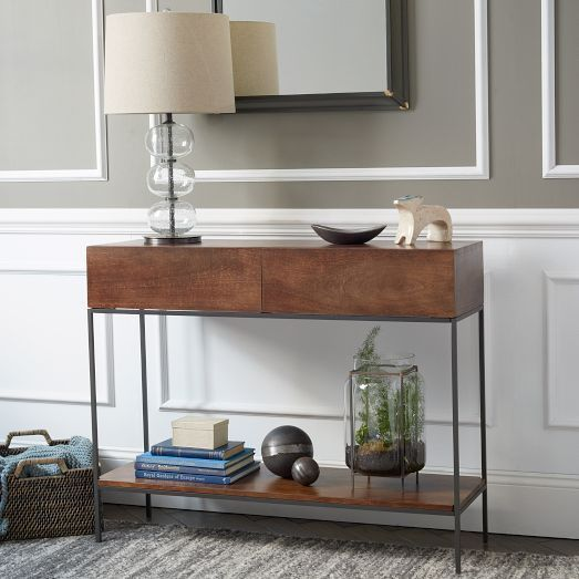West Elm Industrial Storage Console Cafe Table LIKE NEW For - West elm cafe table