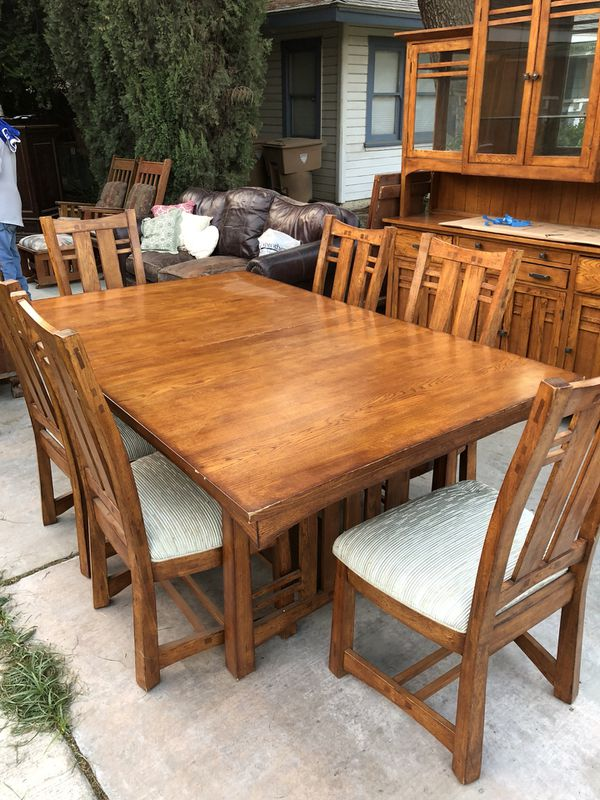 Mission Style Dining Table And China Hutch