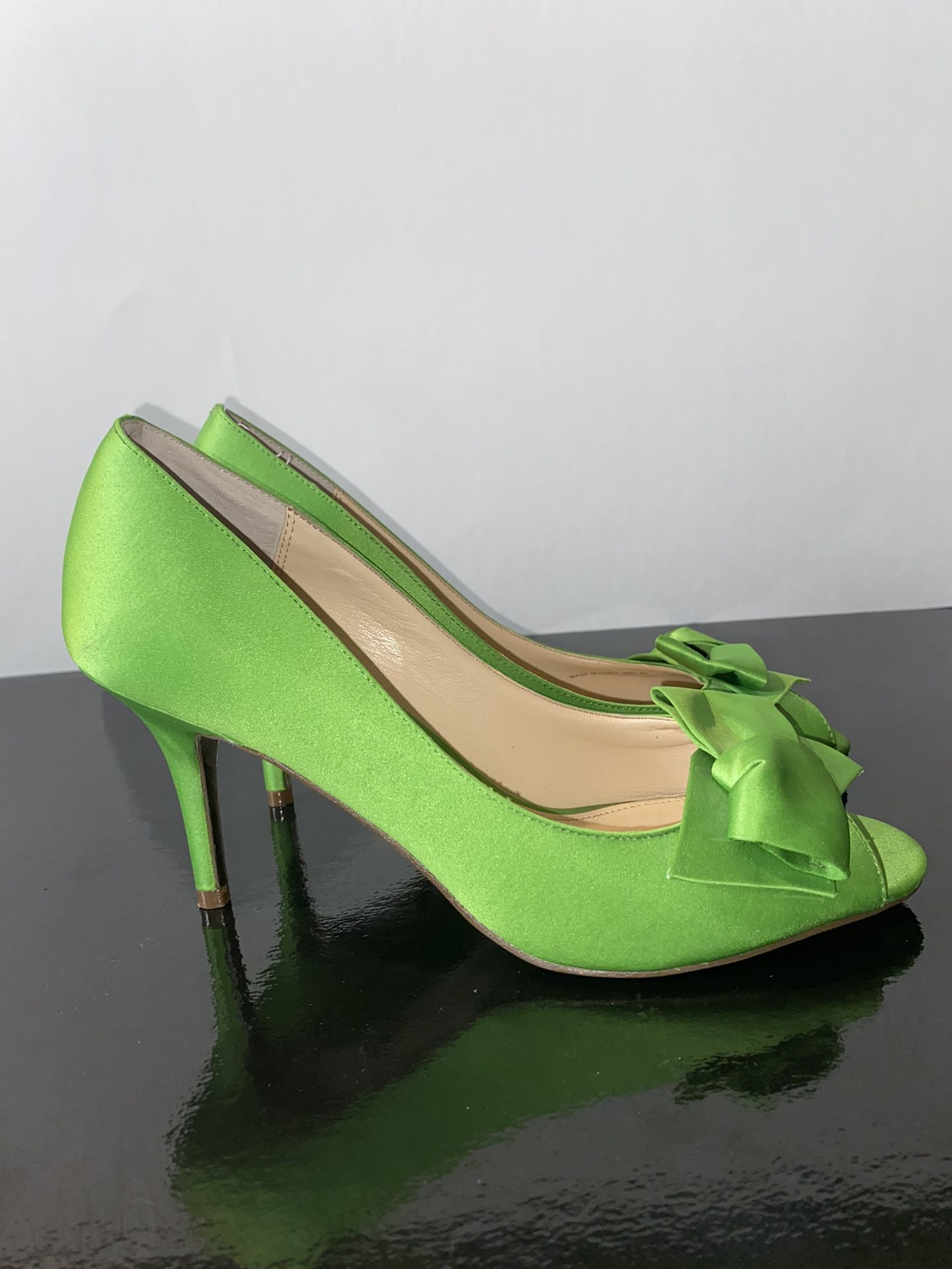Nina Green Satin Bow Heels