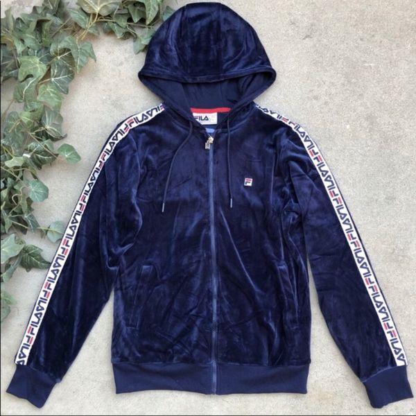 Navy Blue Fila Marybeth Ladies Velour Jacket