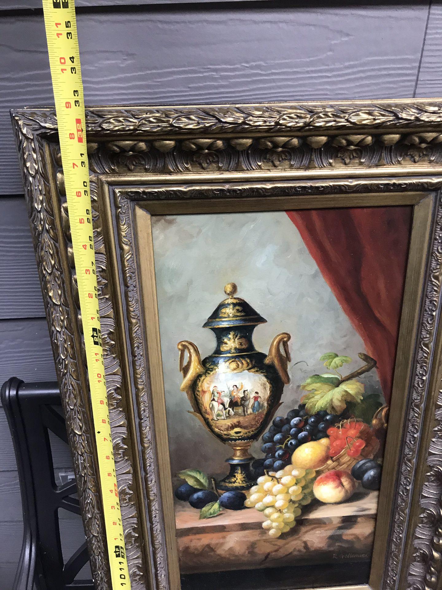 Beautiful framed Still Life Oil painting Italian fruit Berings retail $600