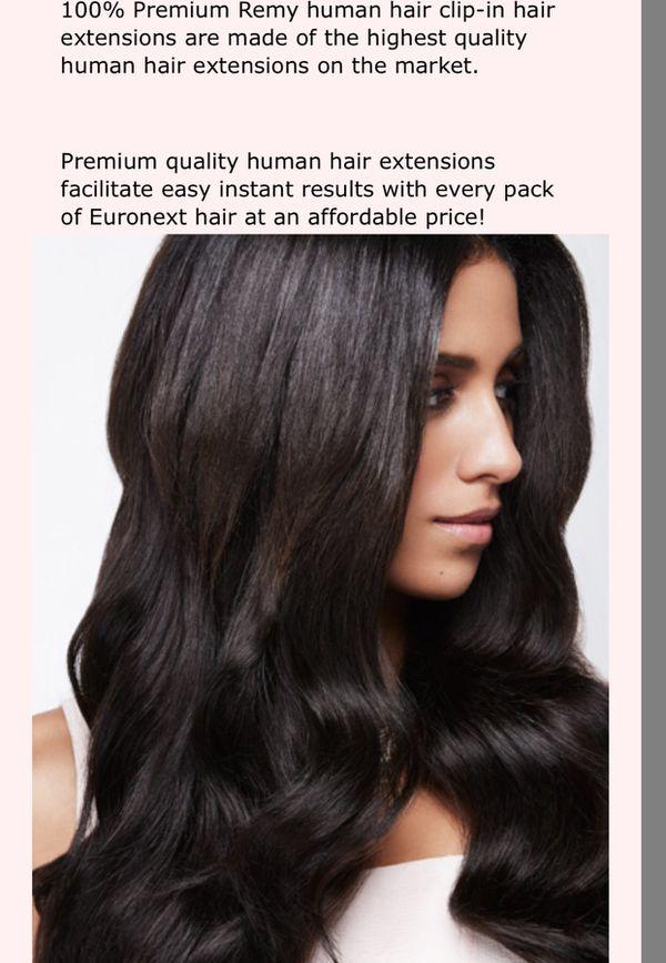 Euronex 18 Clip In Human Hair Extensions Medium Brown Beauty