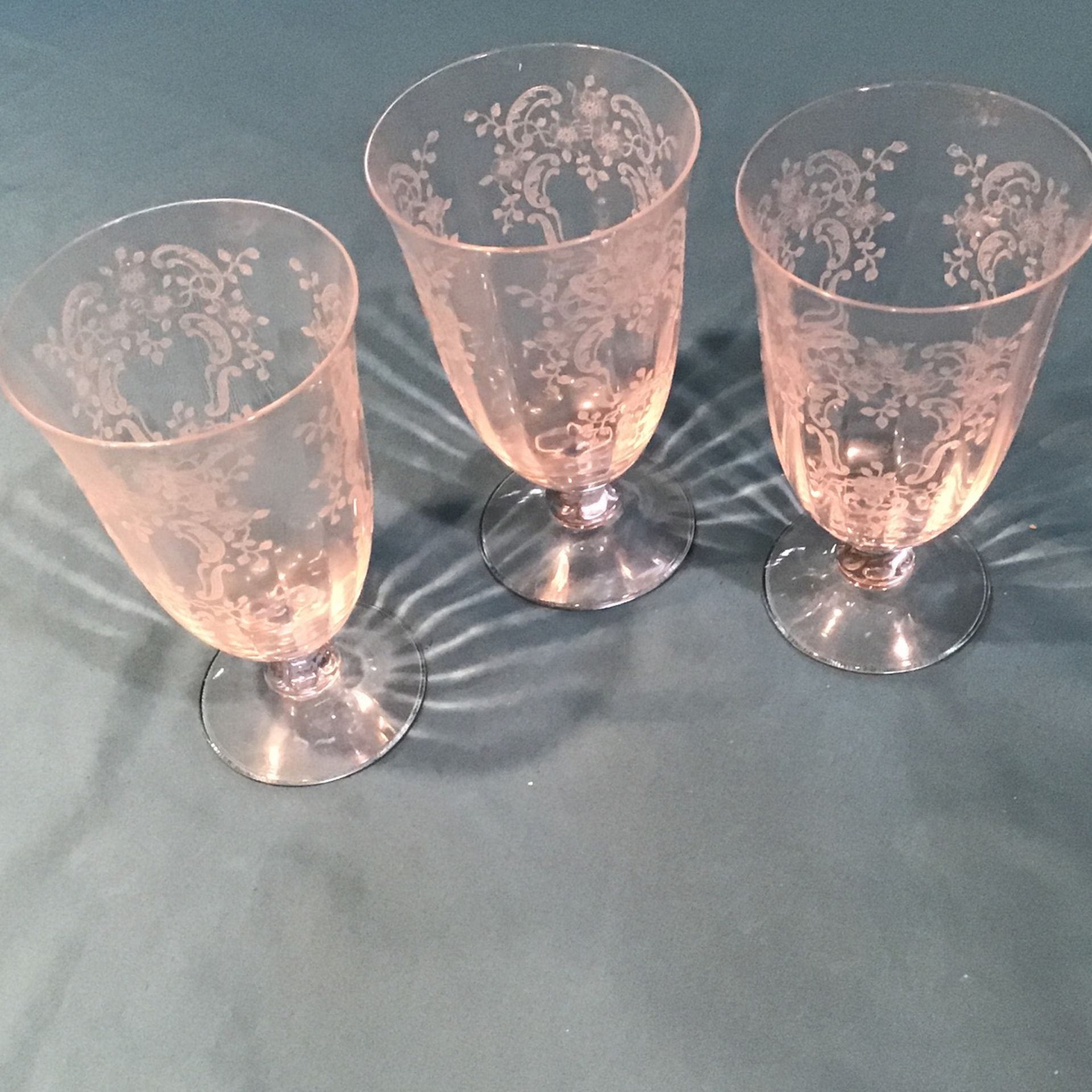 Set Of 3 Vintage Fostoria Etched Crystal Meadow Rose Water Glasses