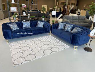 Blue velvet sofa and loveseat 💫Livingroom set 💙only $39 down🚛🚛by Odette Thumbnail