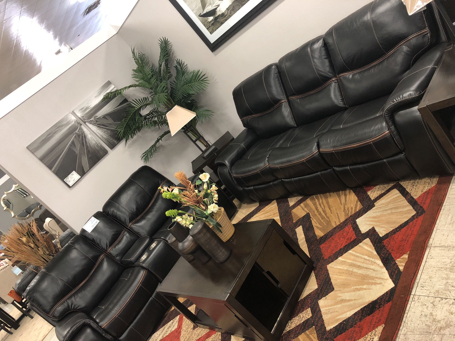 Heavy Duty Leather Sectional!!! Sofa + Loveseat!!!