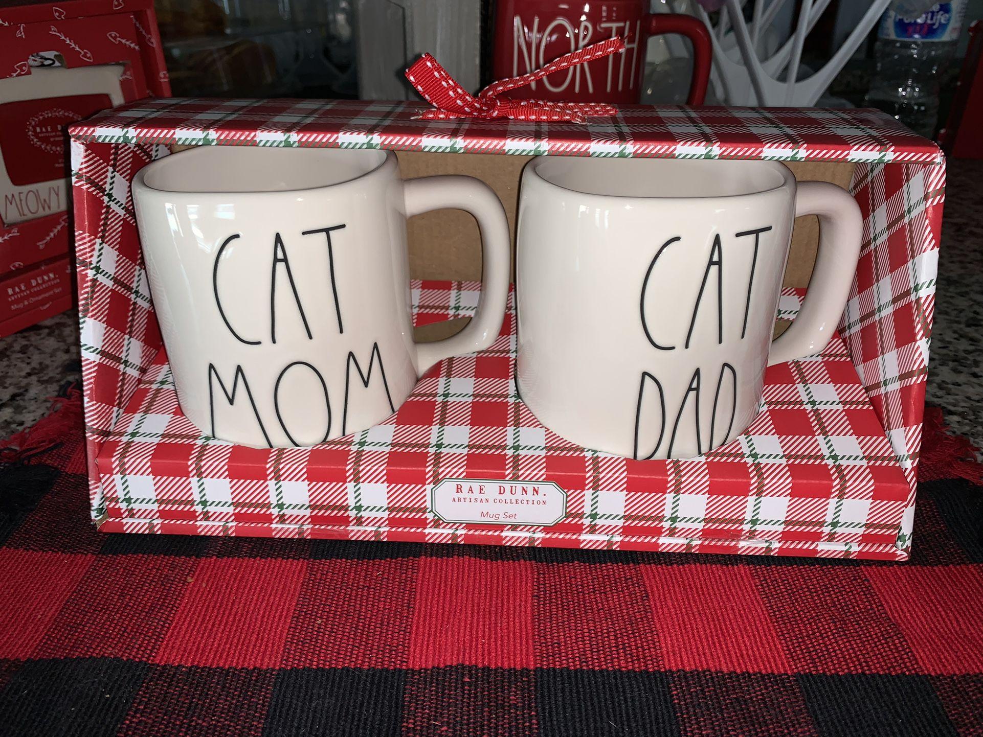 Rae Dunn CAT MOM & CAT DAD MUG GIFT SET