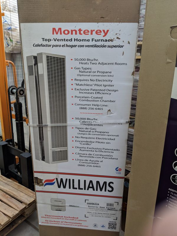50,000 BTU Monterey Top-Vent Gravity Wall Furnace Natural