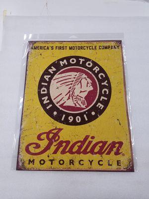 Photo Indian motorcycle bike chief head logo metal sign