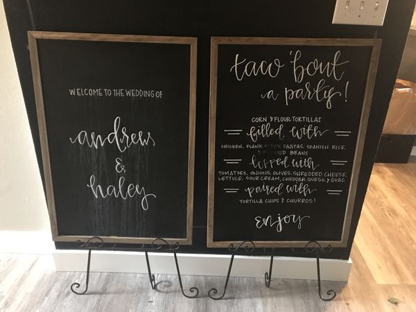 Chalkboard Wedding Signs.Two Large Chalkboard Wedding Signs W Stands For Sale In Sumner Wa Offerup