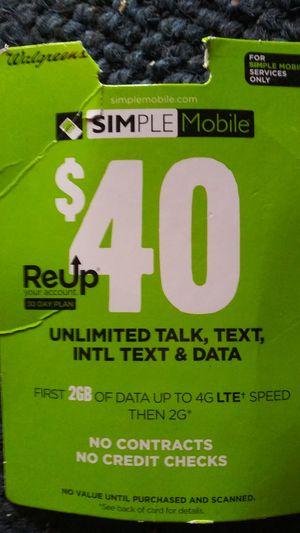 $40 simple mobile reup card for sale  Tulsa, OK