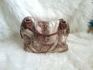 Charming Charlie Faux Alligator Gold Satchel Handbag for Sale in Reno, NV