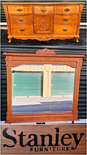 Vintage Stanley Solid Wood Triple Dresser with Mirror for Sale in Baltimore, MD
