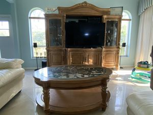 Photo 100% Wood Entertainment Center - TV Console - Coffee table - Glass Curio Cabinet