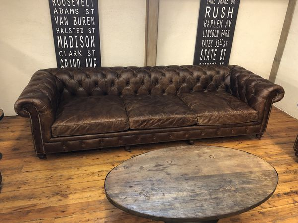 Restoration Hardware Kensington Leather Sofa 10 Luxe For Sale In