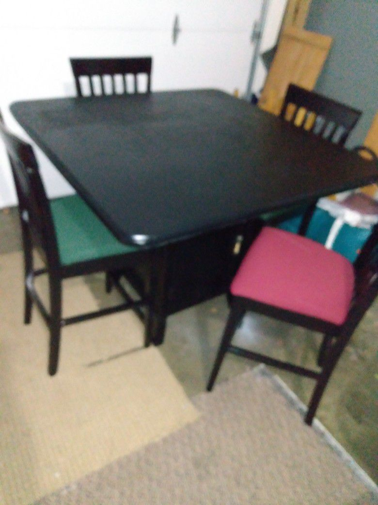 """As a new freshly painted and upholstered tall dining set, table has bottom shelves and measures 46 """"× 46"""" 37 """"H and chairs 42"""" from back to floor and"""