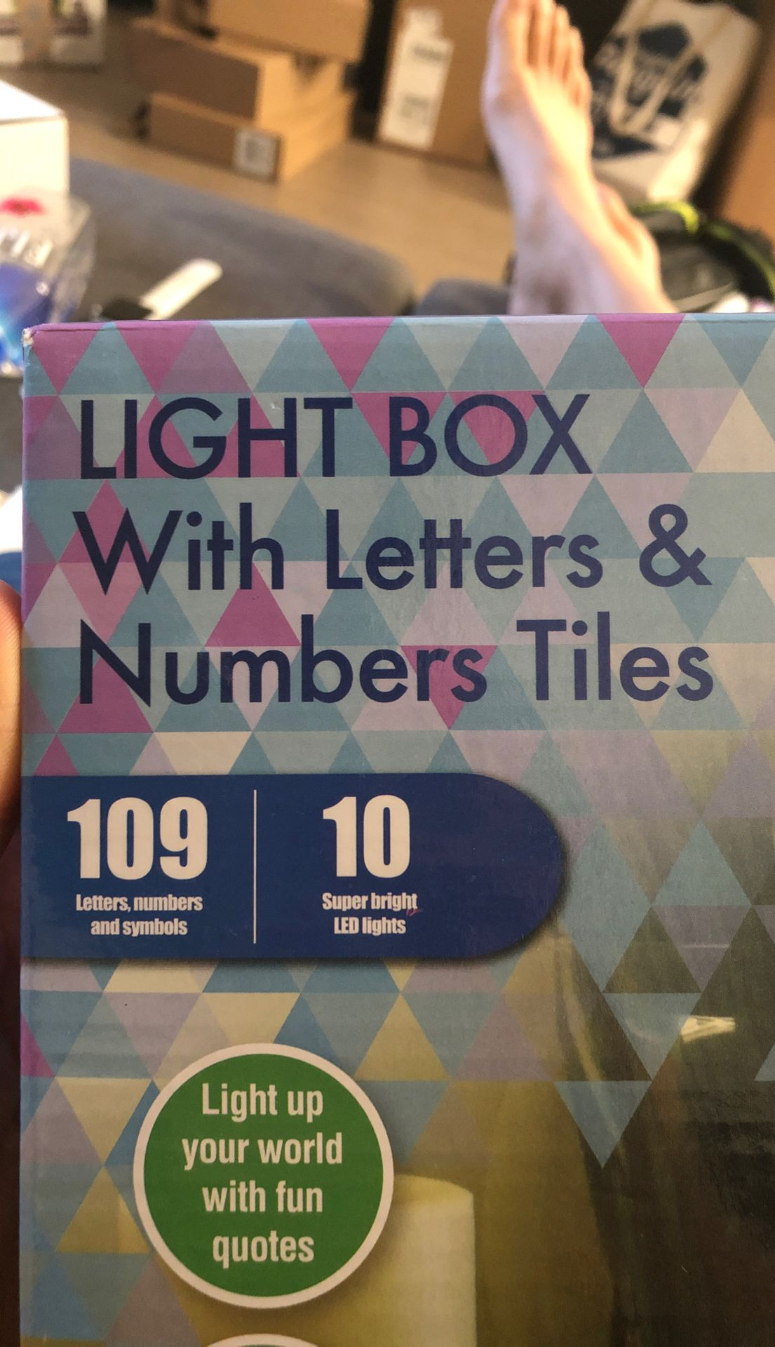 Brand new light box with letters and number tiles