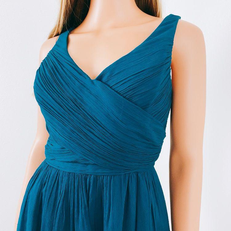 J.Crew Dark Teal Blue Silk Sleeveless Party Dress, 10