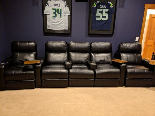 Media Room Power Seating With Tray Tables For Sale In