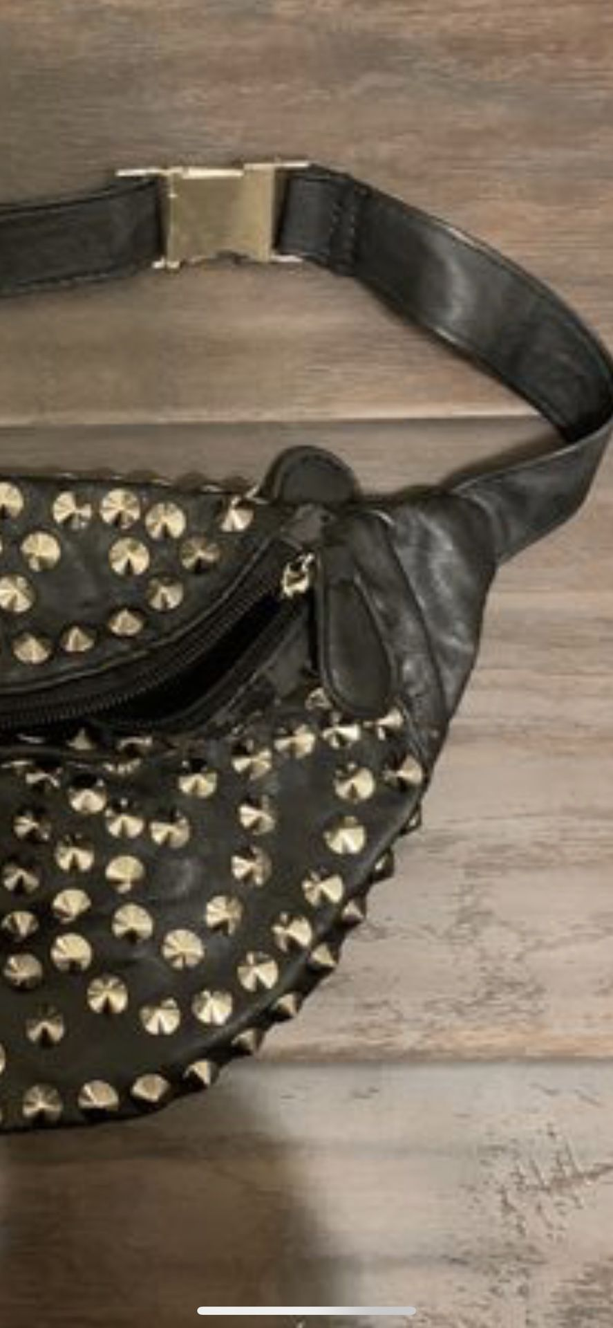 Faux leather studded black leather fanny pack