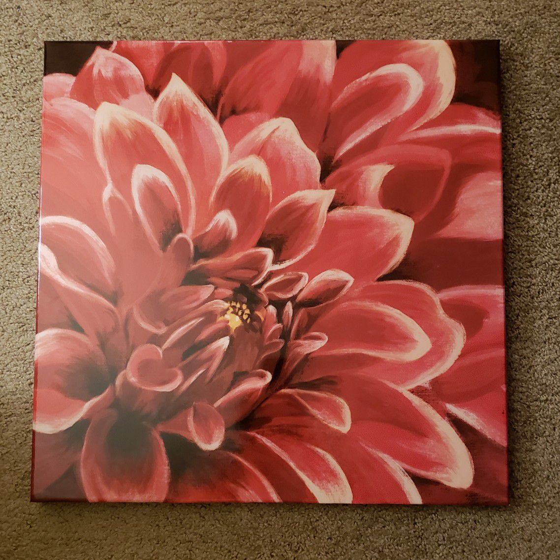 Pink Flower Glossy Painting