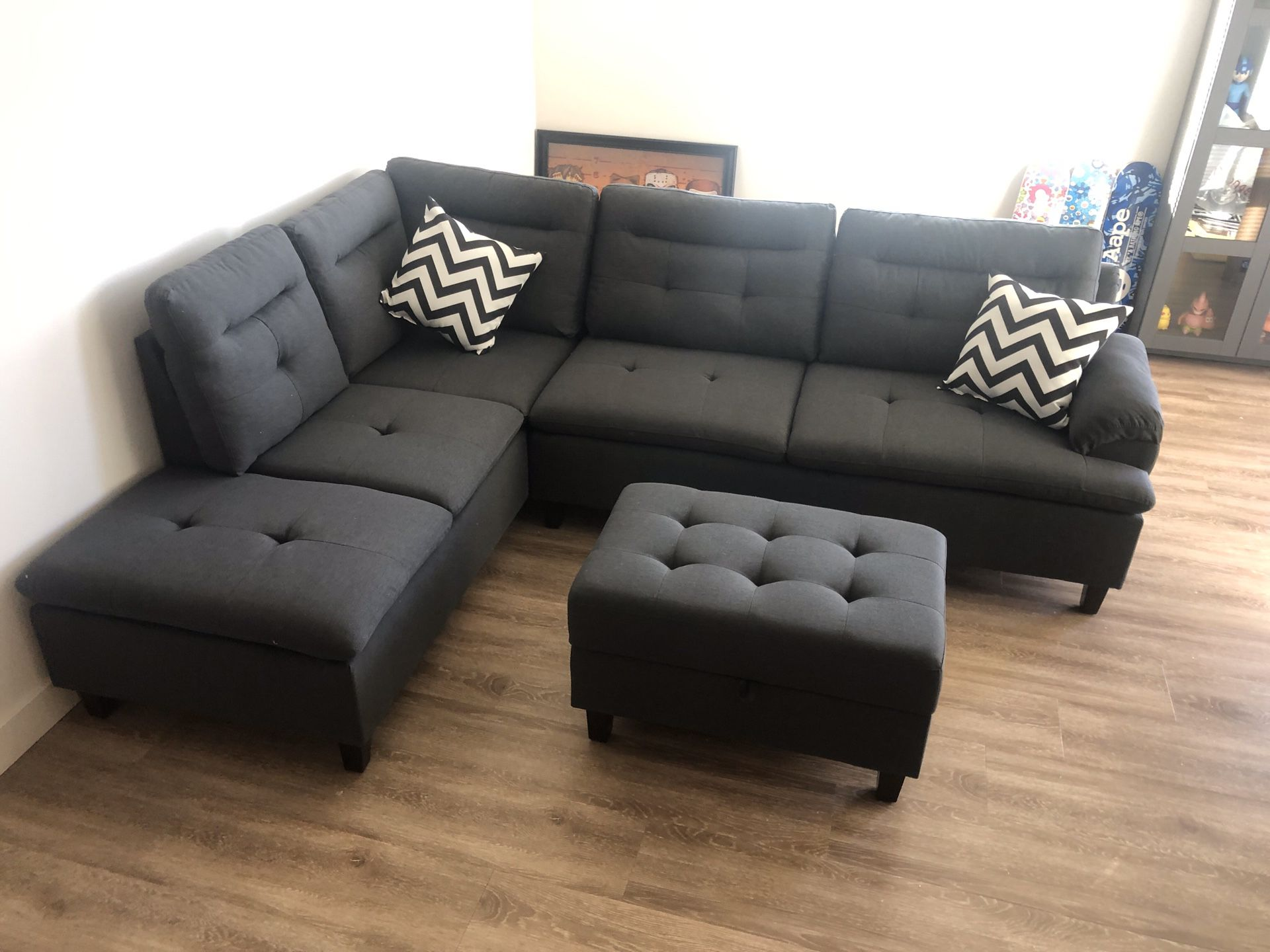 New Sectional with Storage Ottoman. $650