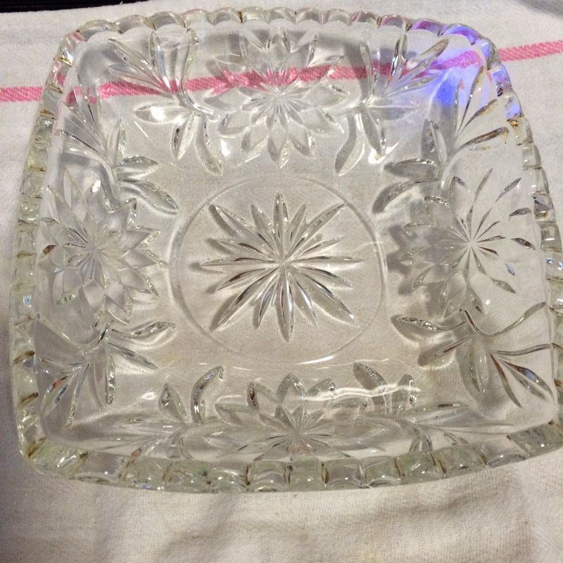 Square cut leaded glass square candy dish