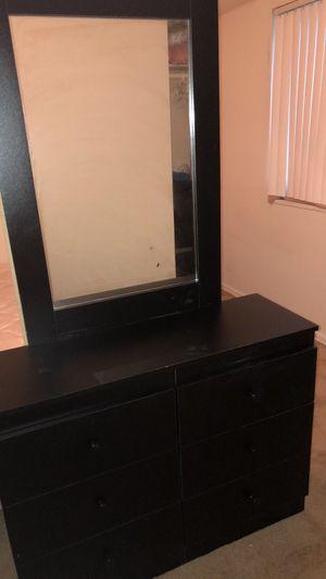 Black wooden dresser with mirror for Sale in Washington, DC