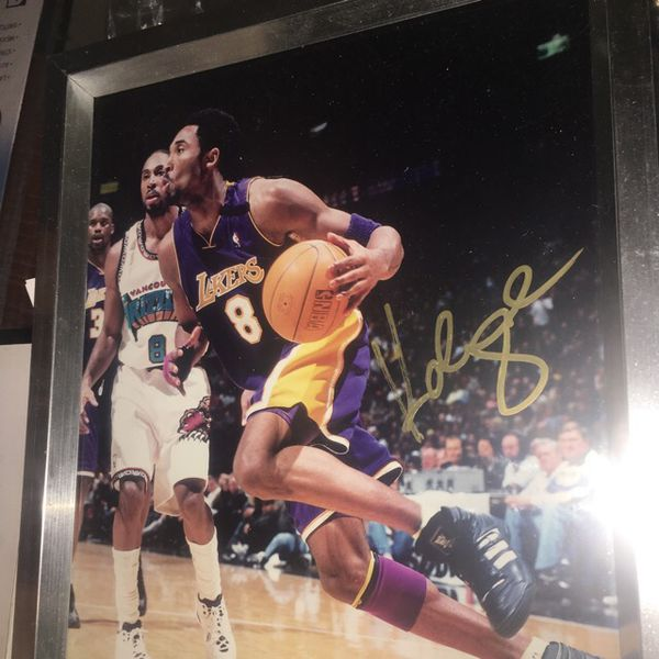 2f9f716584ae6d Kobe Bryant signed gold rare lakers framed NBA photo! +++ for Sale ...