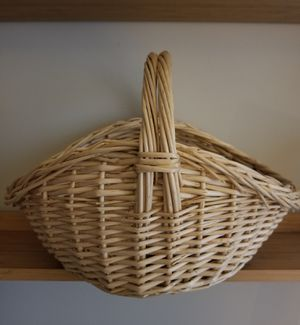 Oval Natural Willow Gathering Basket With Handle for Sale in Gaithersburg, MD