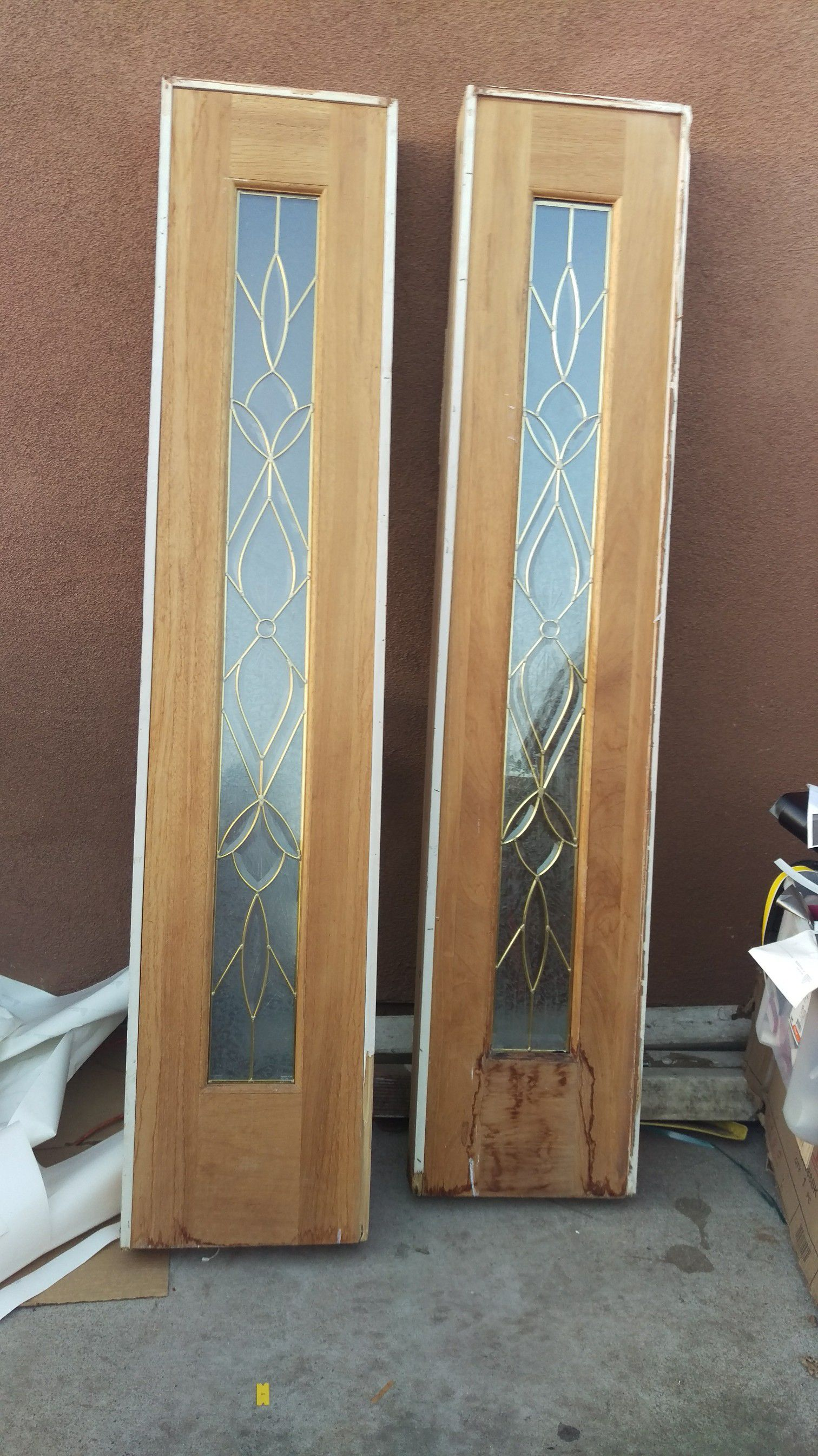 42 inches X 79 mahogany entry door plus 2 side one light door 15X 79 inches