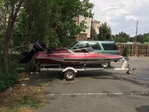 Good working Glastron boat and trailer for Sale in Denver, CO