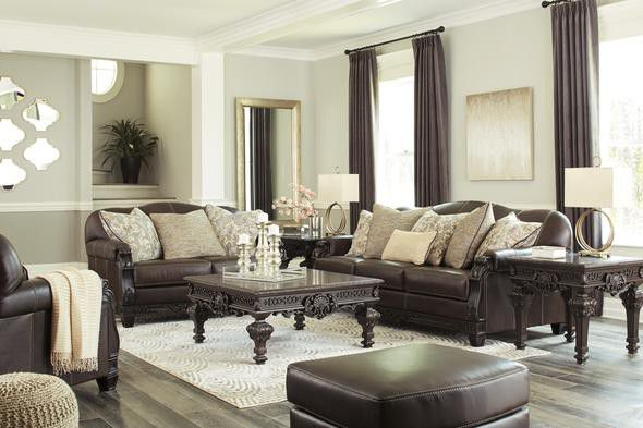 Embrook Chocolate Leather Living Room Set