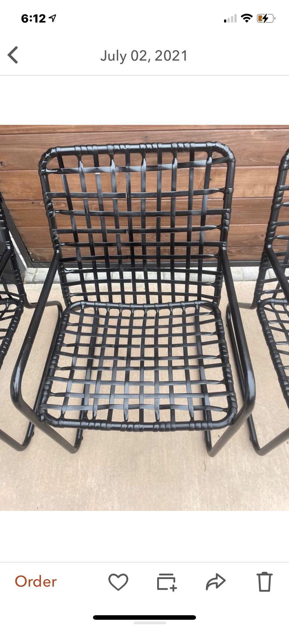 Set of three brown Jordan outdoor patio chairs vantage