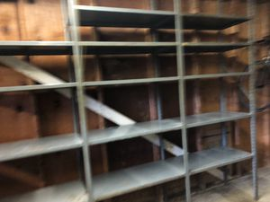 8ft grey tall, 9 ft wide galvanized steel shelves for sale $125 OBO Scrapping 10/8/18 — Must sell today and pickup today for Sale in Rockville, MD