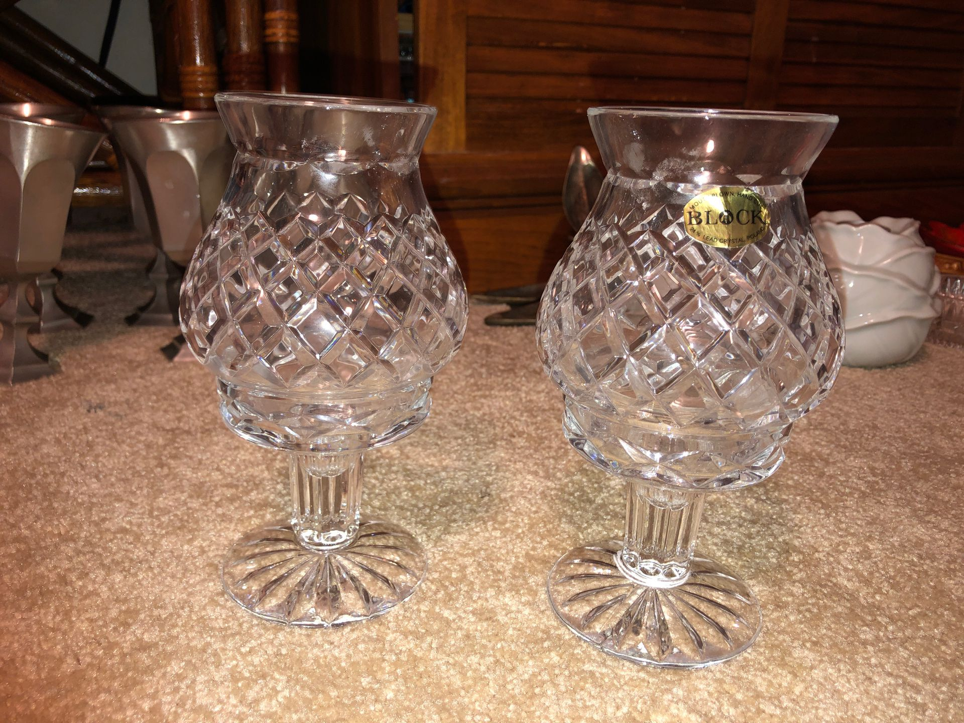 """Block 2, 8"""" Tall Mouth Blown Hand Cut 24% Lead Crystal Votive Hurricane Candle Holders on Pedestals, Art"""
